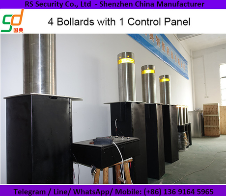 China Steel Frame Automatic Retractable Bollards / Security Bollards With Flashing Lights supplier