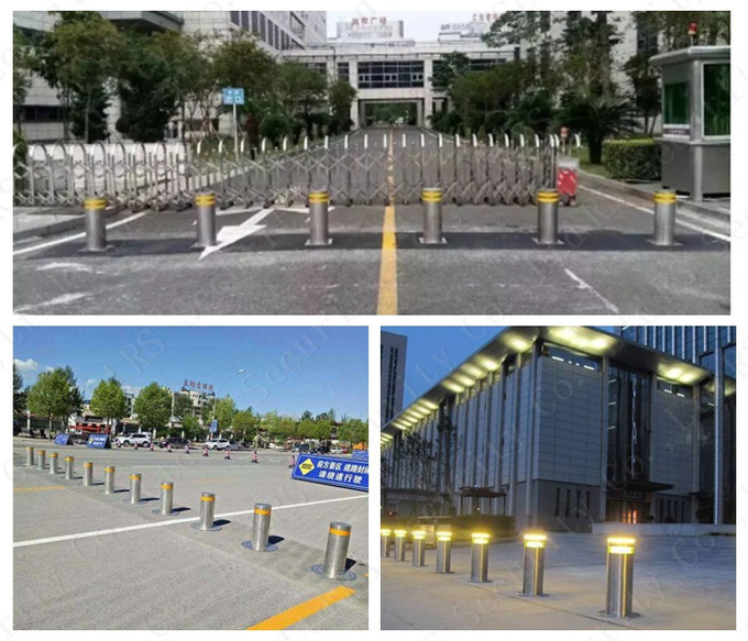 K8 Rated Fixed Hydraulic Bollards Parking Barriers With LED Light
